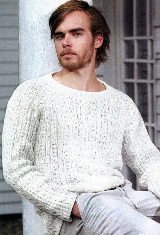 вязание мужской пуловер реглан снизу