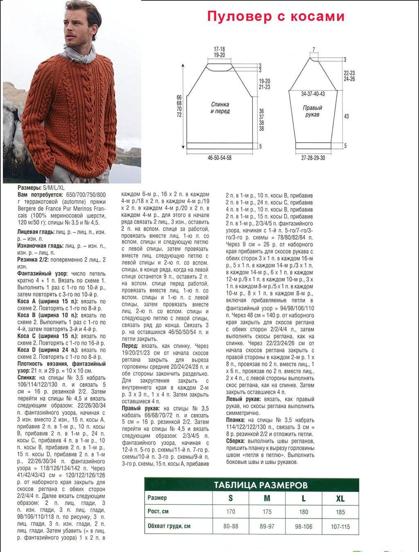 Связать мужской свитер 52 размера спицами
