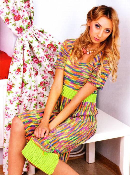 Схема вязания меланжевого мини платья с рукавами