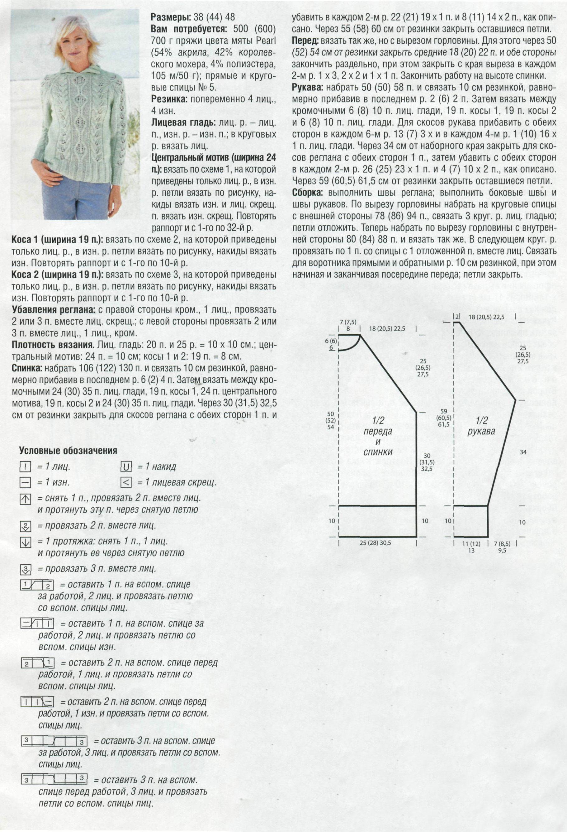Реглан схема вязания на спицах 32