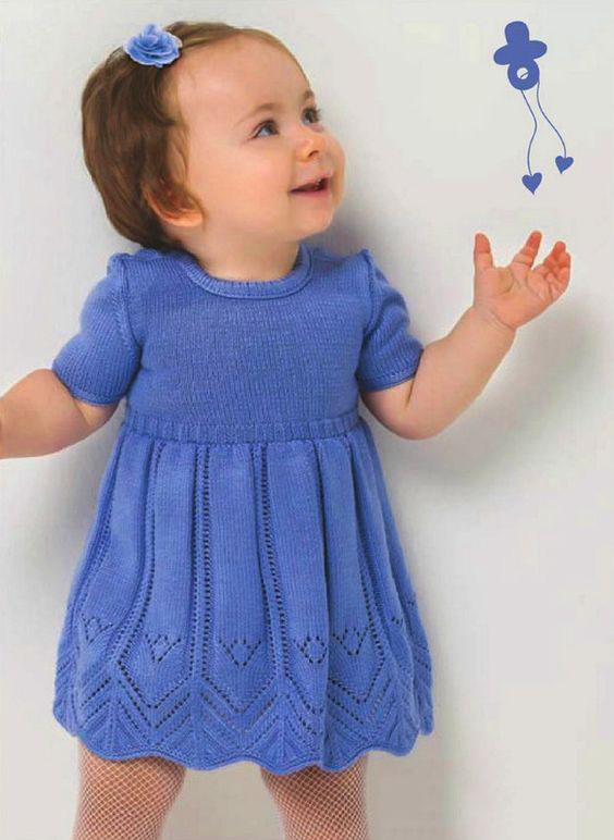 Вязаное платье для девочки до года: схема вязания спицами ...