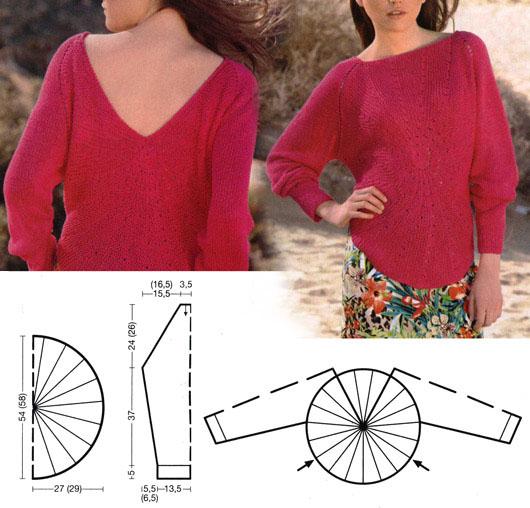 pulover-s-luchami-iz-centra-spicami-shema