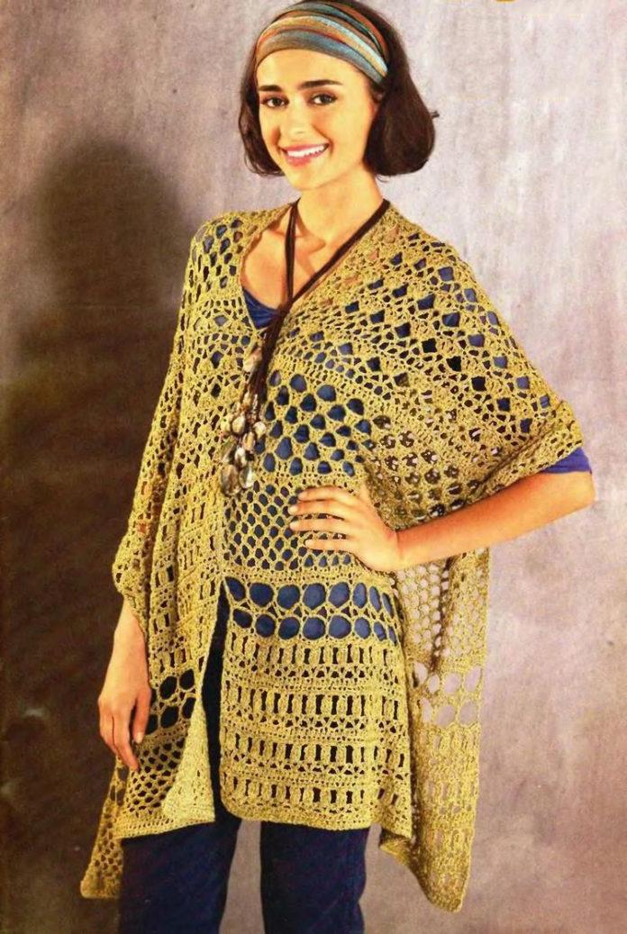 Ажурное пончо крючком схема вязания для женщин
