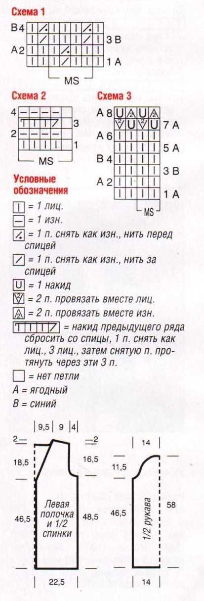 схема вязания и описание кофточки спицами