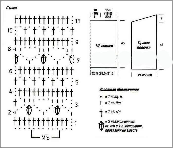 схема вязания женской безрукавки