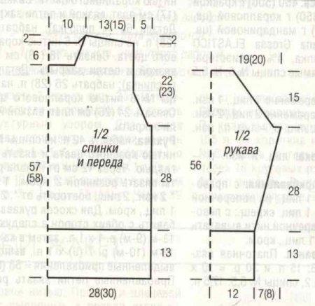 выкройка и схема вязания спицами свитера для мужчин