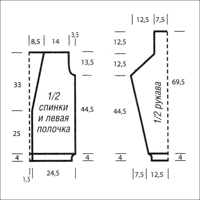 схема вязания кофты спицами для женщин