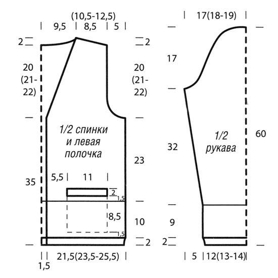 выкройка и схема вязания кофточки спицами