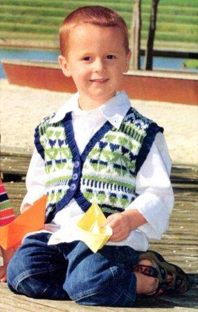 вязание жилета для мальчика спицами схема с описанием