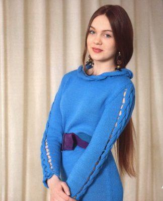 Голубое платье спицами схема вязания спицами для женщин