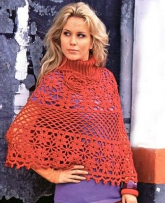 Пончо вязаное крючком схема вязания для женщин