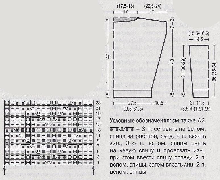 Женский джемпер спицами схема вязания с описанием