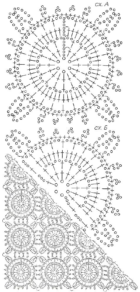 Шаль из мотивов крючком схема вязания с описанием для начинающих