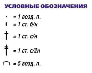 Условные обозначения для вязаного платья крючком