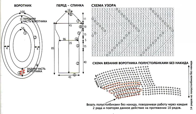 вязаное платье спицами крючком схема вязания с описанием