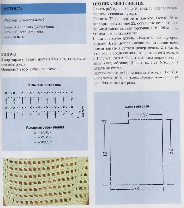 Пончо крючком сетчатым узором схема вязания для женщин с описанием