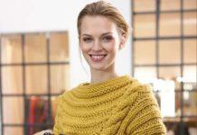 вязание пуловера с объемными косами спицами