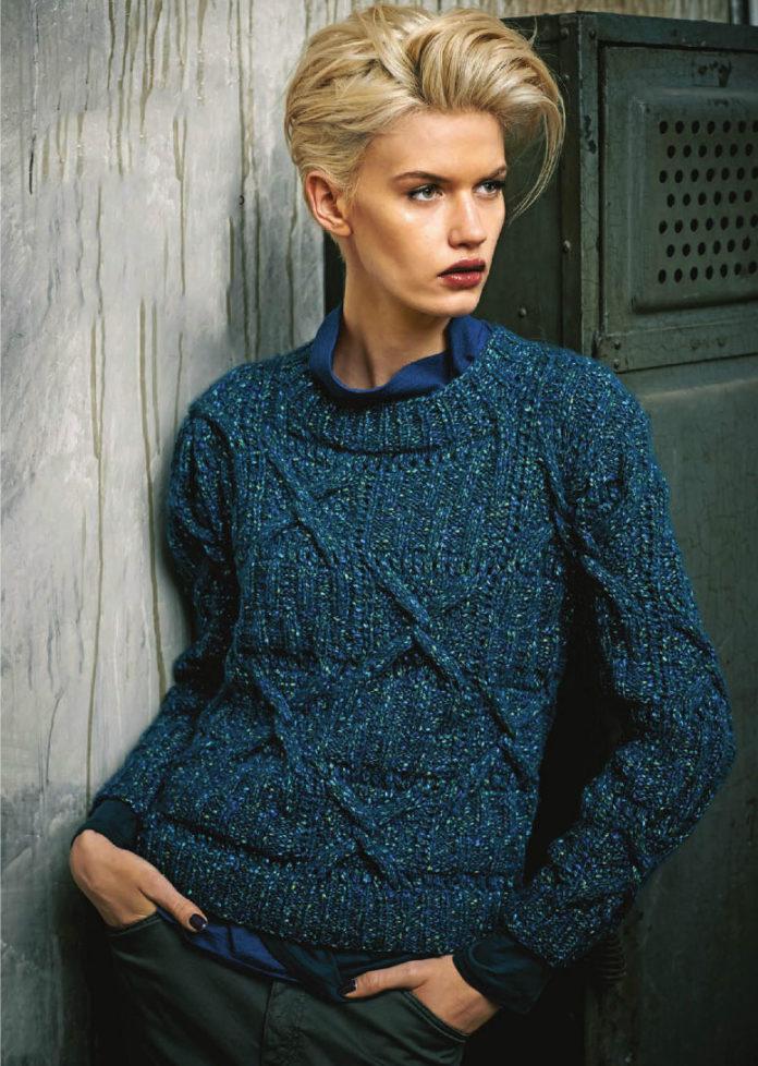вязание для женщин синего пуловера