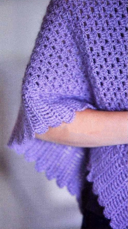 вязание крючком с описанием для шали