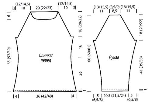схема вязания женского пуловера с вырезом лодочка