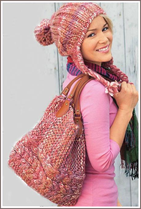 схема вязания меланжевой шапки спицами
