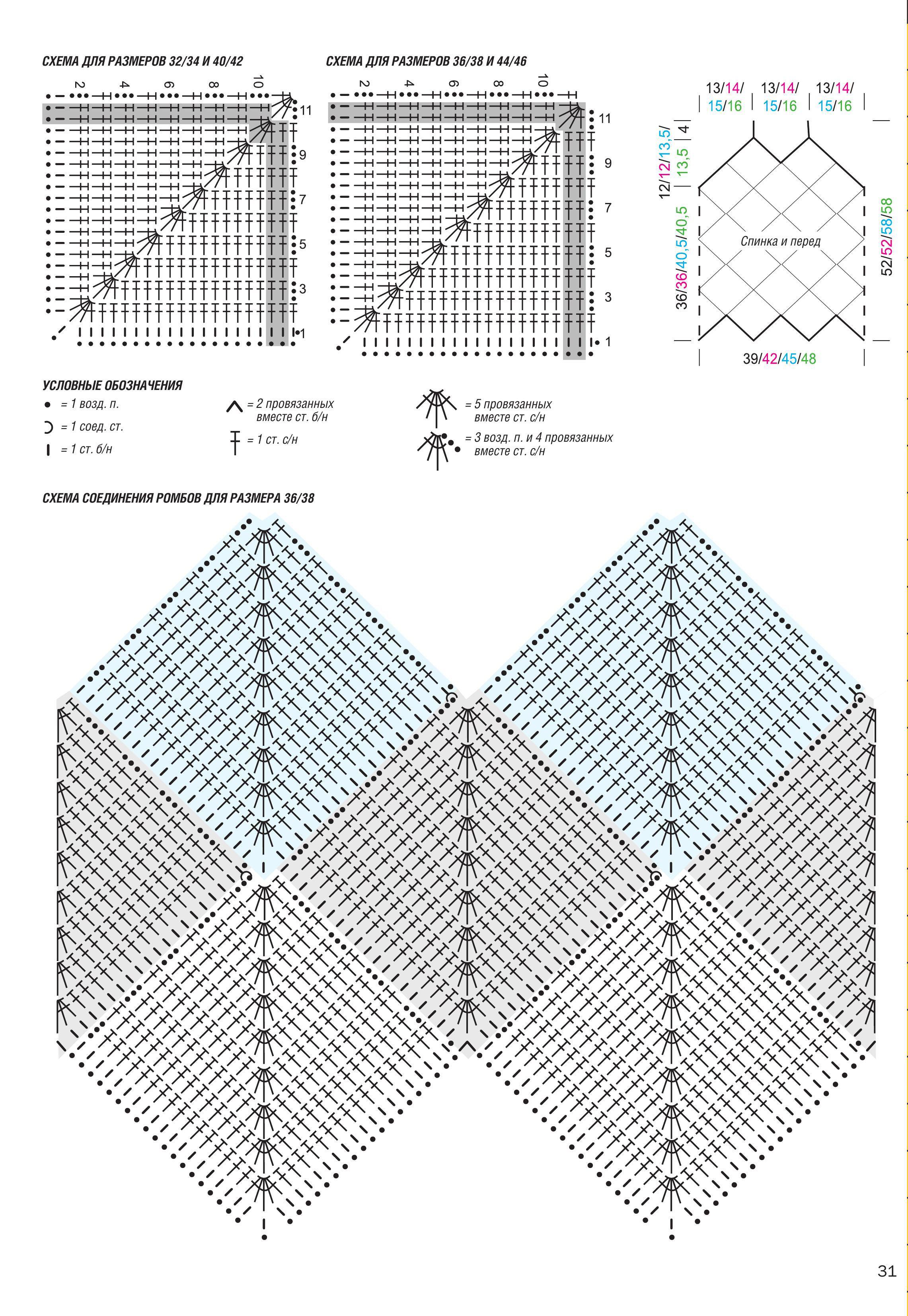 схема вязания и выкройка для топа крючком из квадратных мотивов