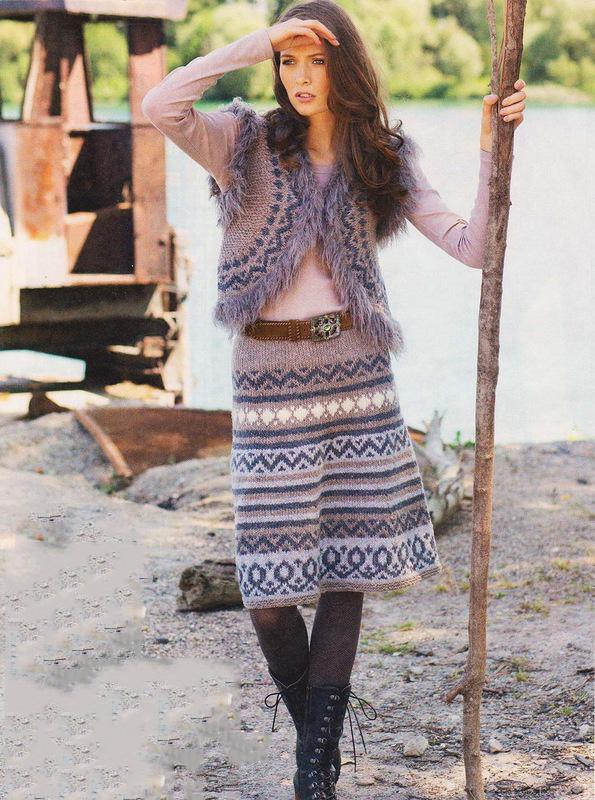 Жаккардовая юбка и безрукавка спицами