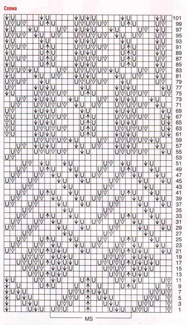 схема вязания лиловой туники спицами