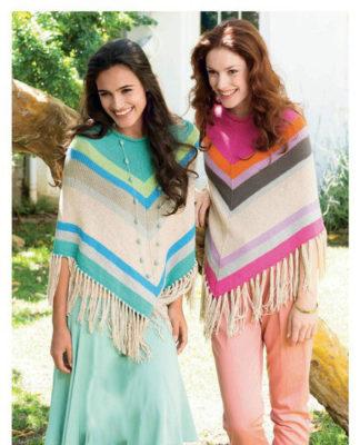 Разноцветное пончо спицами с бахромой