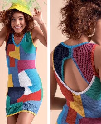Цветной сарафан спицами с абстрактным рисунком