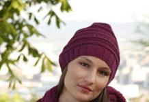 Шаль и шапочка спицами с структурным узором