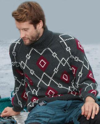 Мужской свитер с геометрическим узором в технике жаккард