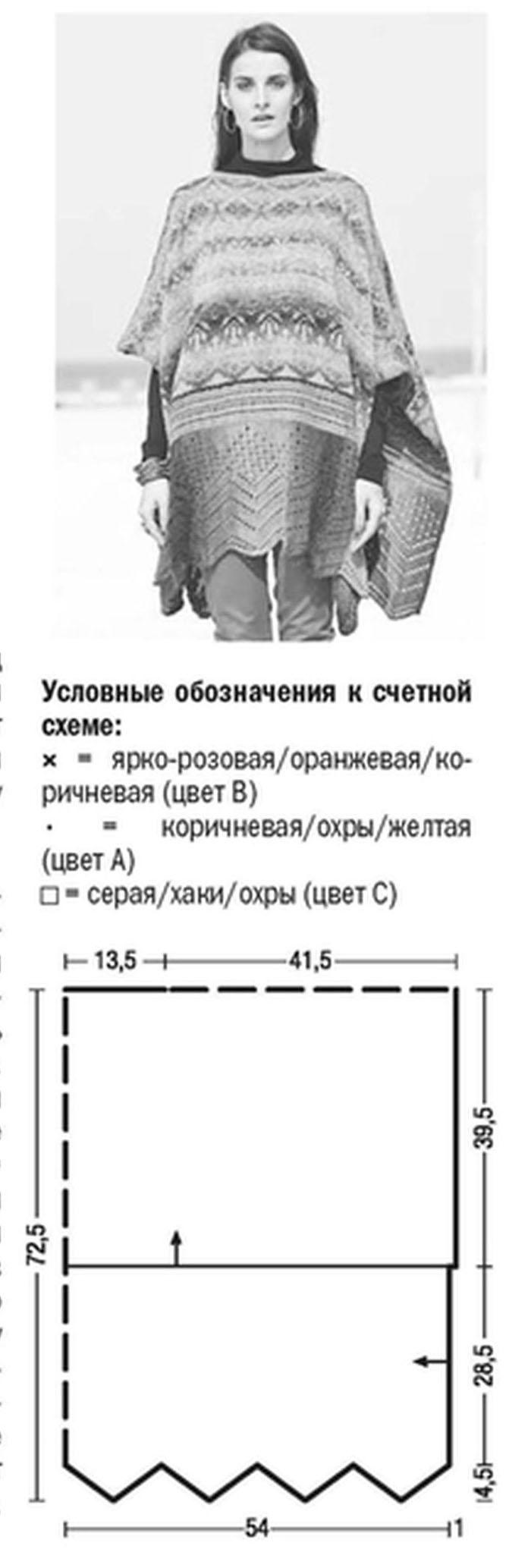 Пончо спицами с жаккардовым орнаментом