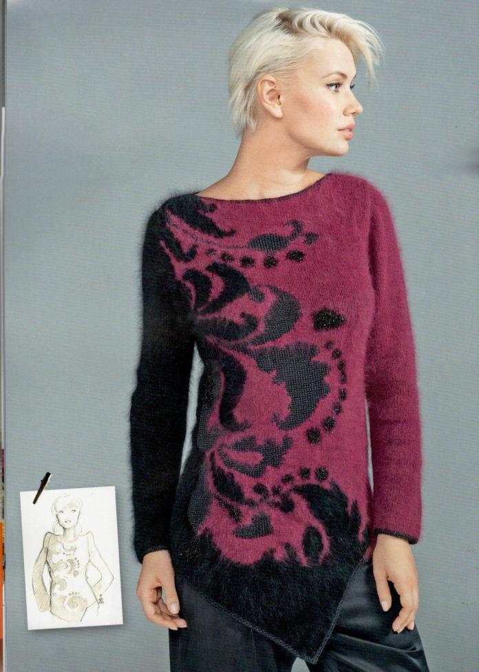 Вязаный пуловер спицами с ажурным орнаментом