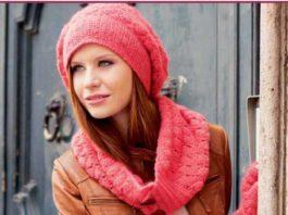 Вязаный комплект шапка, шарф и митенки крючком