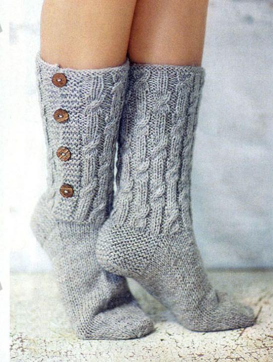 Вязаные носочки на пуговицах схема вязания спицами для женщин с подробным описанием бесплатно