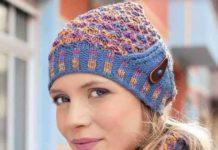 оригинальная вязаная шапочка и снуд схема вязания для женщин спицами с подробным описанием бесплатно