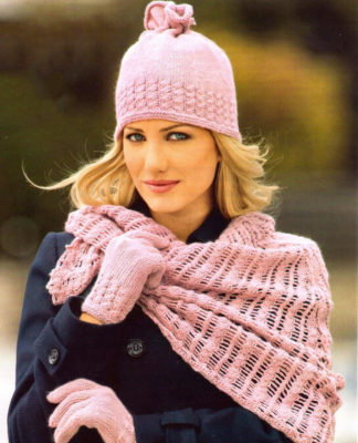 Комплект спицами: шапочка, шарф бактус и перчатки
