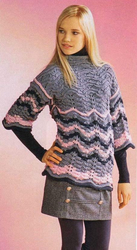 Вязаный пуловер спицами в стиле Миссони схема вязания для женщн с описанием бесплатно