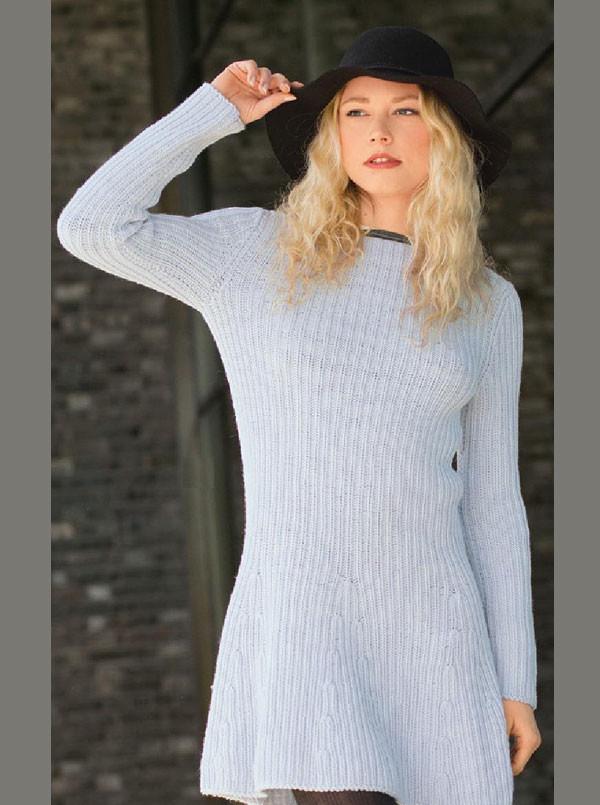 короткое вязаное платье гаде с длинным рукавом