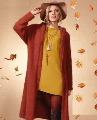 Удлиненное пальто спицами с капюшоном