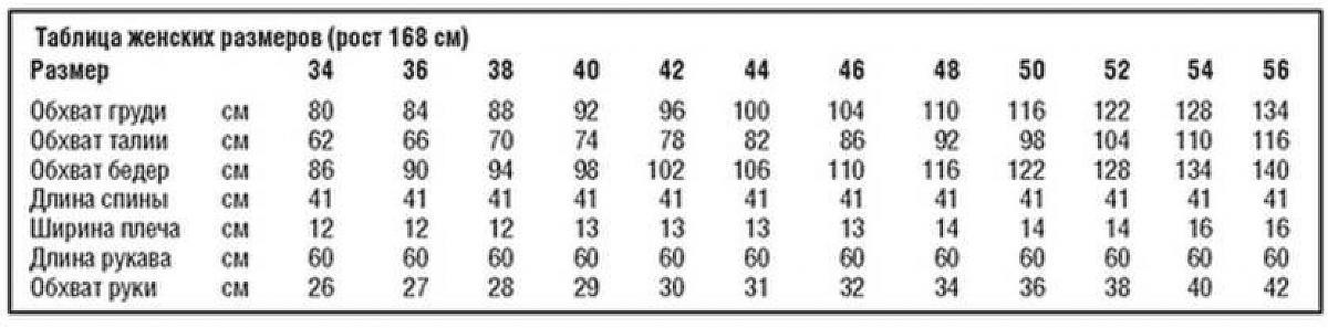 таблица размеров для вязаного пуловера спицами с цветами на плече