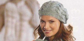 Шапочка и шарф спицами с крупным узором из ком