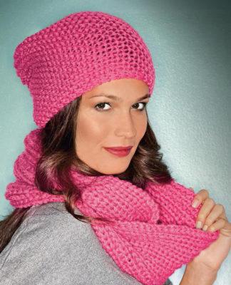 Вязаный комплект: шапочка и шарф спицами