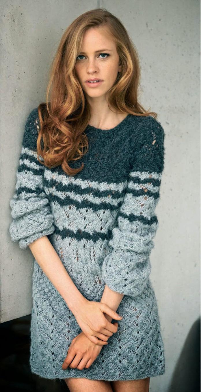 Зимнее платье спицами с ажурными узорами