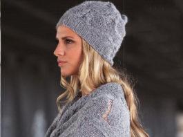 Серая шапка спицами с ажурным узором схема вязания спицами с подробным описанием бесплатно