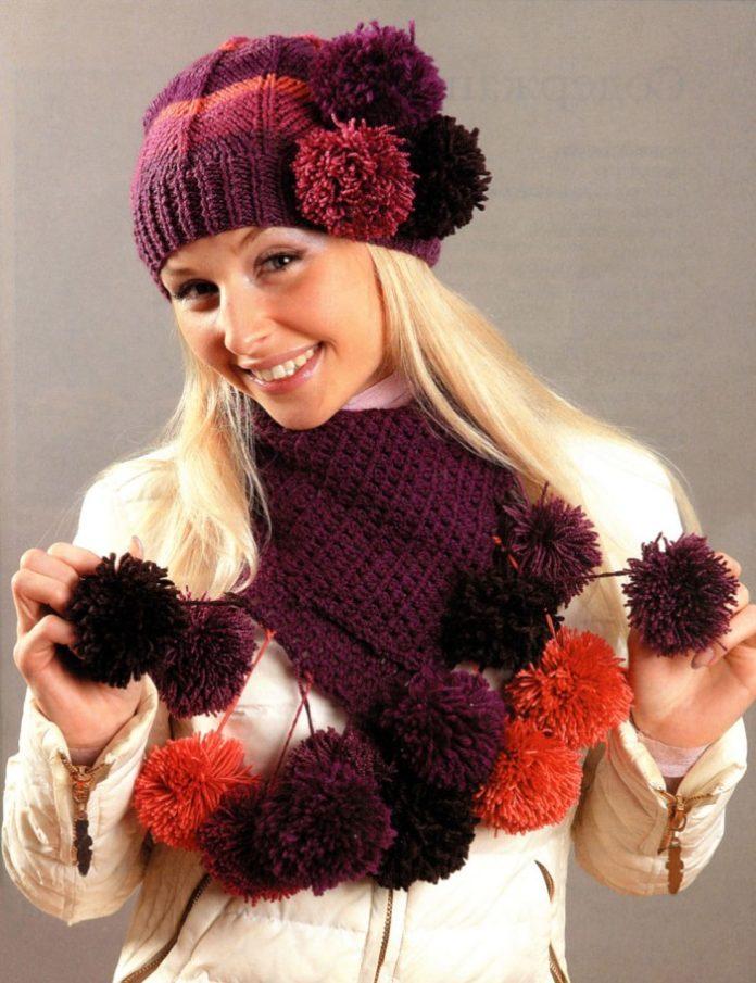 Шапка и шарф спицами с разноцветными помпонами схема вязания с подробным описанием для женщин бесплатно
