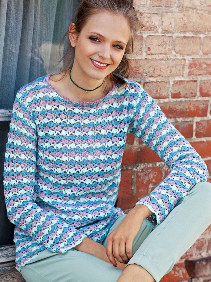 Полосатый пуловер крючком для женщин