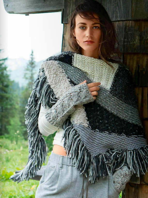 Шаль спицами крупной вязки с бахромой схема вязания спицами для женщин с подробным описанием бесплатно