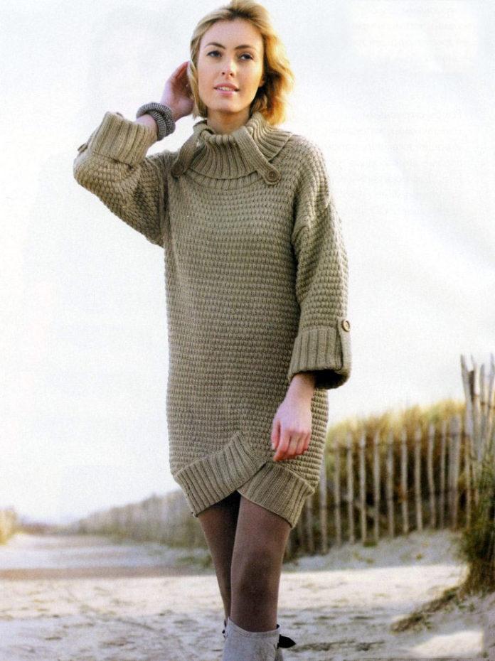 Теплое платье спицами с отворотами схема вязания с подробным описанием для женщин